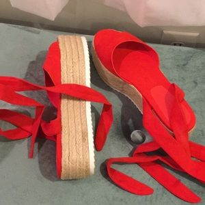 Red Espadrilles Tie Up Sandal